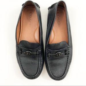 Coach Black Leather Loafer Slip On Flats